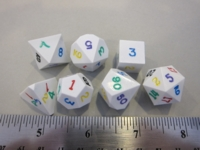 Dice : 7die GSci precision white rainbow