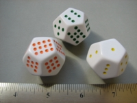 Dice : d12 28mm pipped orange green yellow