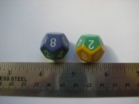 Dice : d12 CHX bicolor blue green yellow