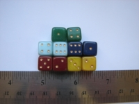 Dice : d6 10mm glass misc