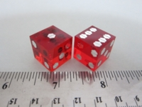 Dice : d6 15mm precision screwhead pips red translucent