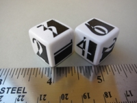 Dice : d6 16mm GSt deco white black
