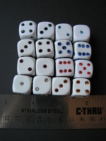 Dice : d6 16mm crystal pips