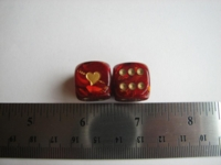 Dice : d6 16mm jspassnthru heart scarab