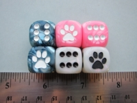 Dice : d6 16mm jspassnthru pawprints