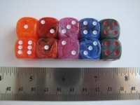 Dice : d6 16mm rainbow chessex