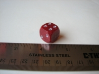 Dice : d6 16mm skulls red marble