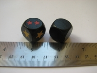 Dice : d6 18mm wood black stars