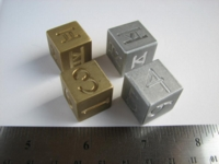 Dice : d6 19mm ACE brass aluminum