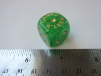 Dice : d6 19mm Casino Rlyeh vortex green