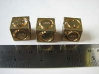Dice : d6 19mm floating face brass JSA
