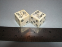 Dice : d6 19mm ivory bullseye plants