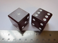 Dice : d6 1inch wood purple heart